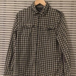 Joe's Jeans 100% Cotten Plaid Shirt Green/Grey